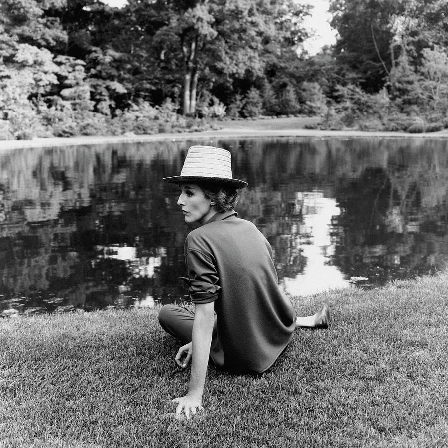 Babe Paley Sitting By A Pond Photograph by Horst P. Horst