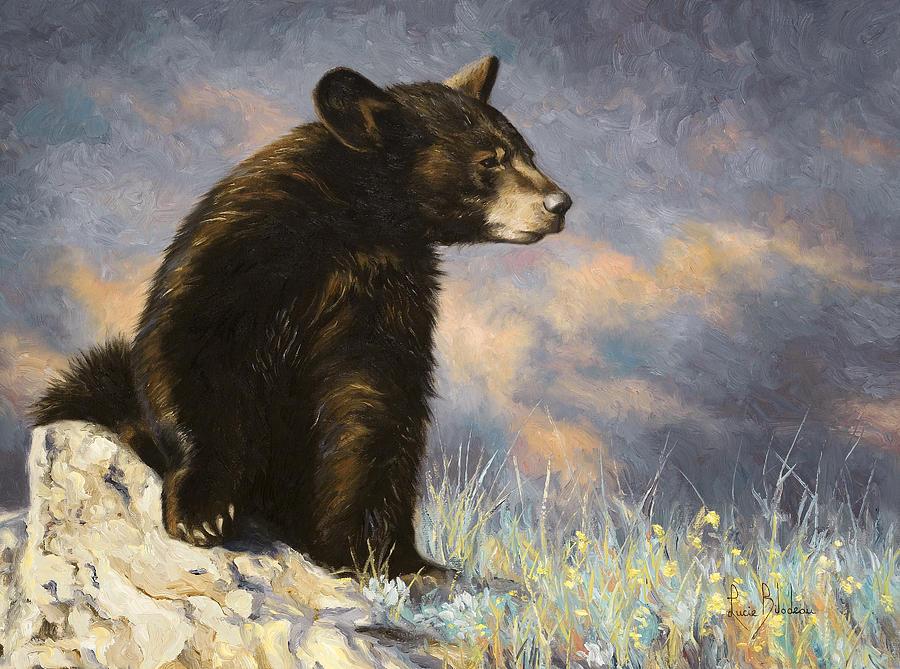 Black Bear Next To Cat