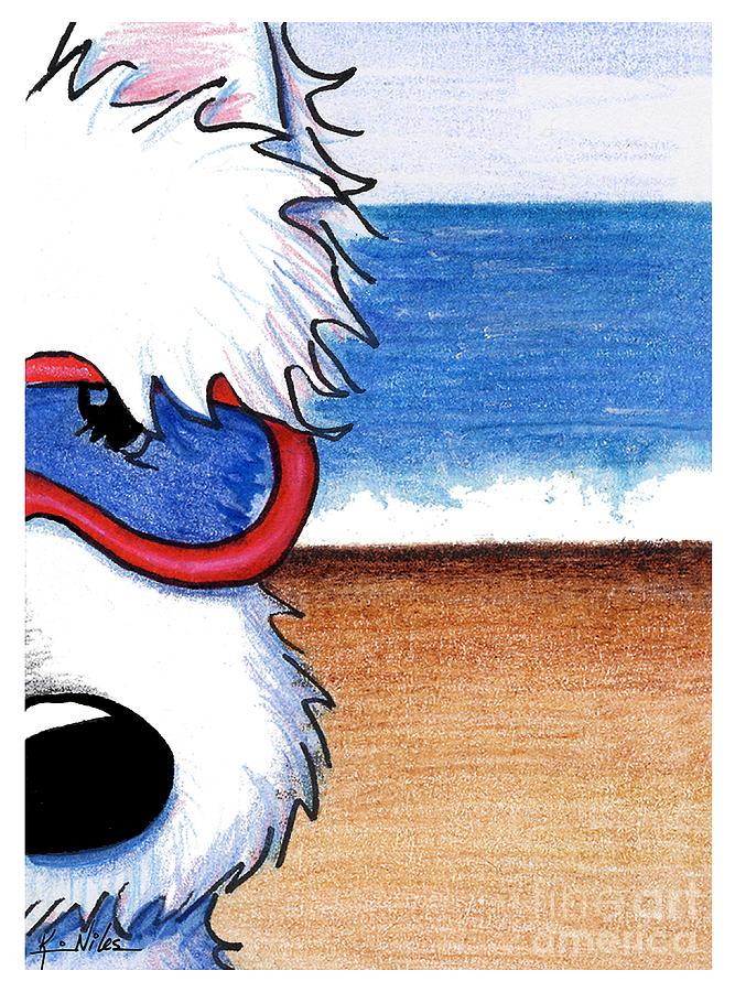 Westie Drawing - Baby Big Kahuna by Kim Niles