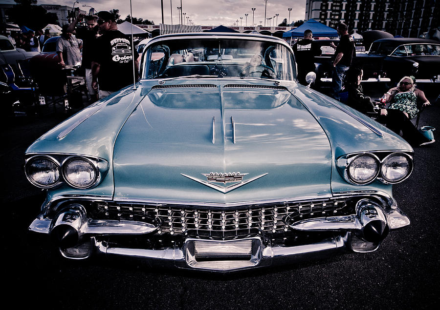 Chrome Photograph - Baby Blue Cadillac by Merrick Imagery