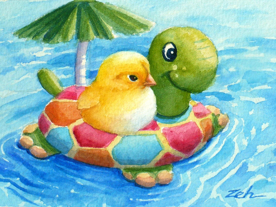 Baby chick in a swimming pool painting by janet zeh for Chicken in swimming pool