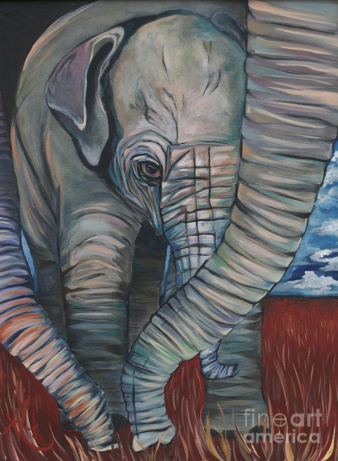 Baby Elephant Painting - Baby Comfort by Aimee Vance