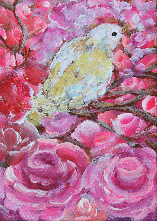 Pink Roses Painting - Baby Dove Of Peace Pink Flowers by Ashleigh Dyan Bayer