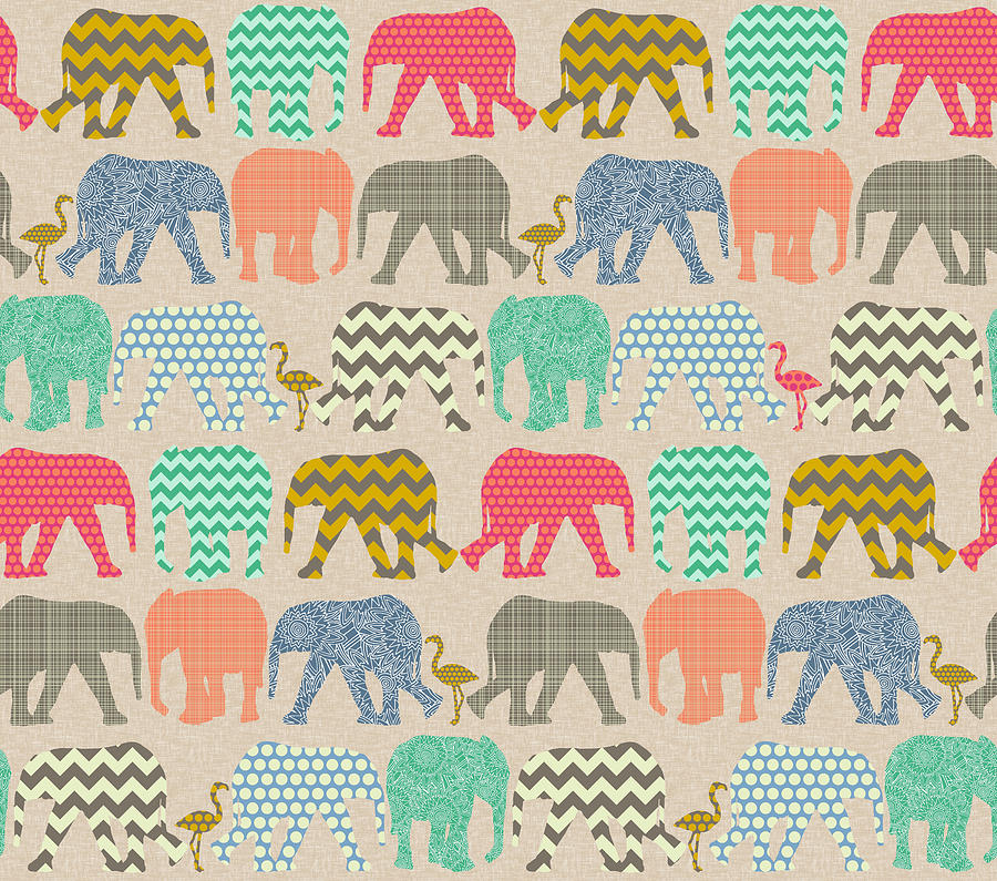 Elephant Drawing - Baby Elephants And Flamingos Linen by MGL Meiklejohn Graphics Licensing