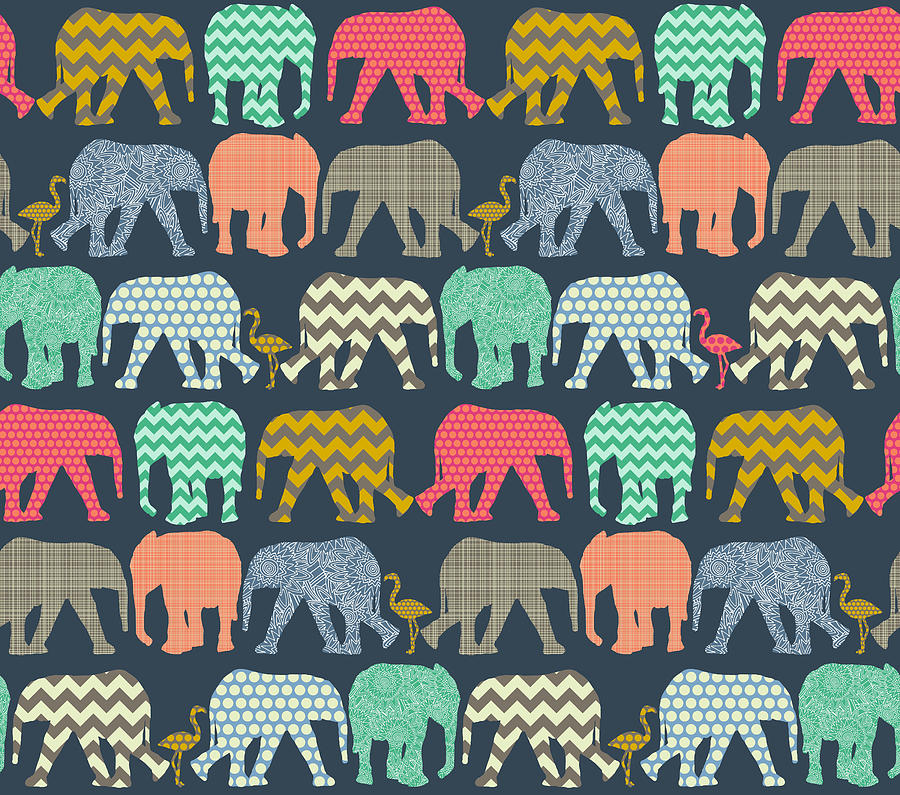 Elephant Drawing - Baby Elephants And Flamingos by MGL Meiklejohn Graphics Licensing