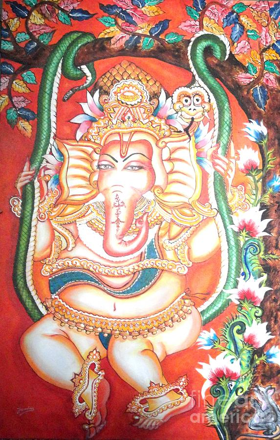 Kerala Painting - Baby Ganesha Swinging On A Snake by Jayashree