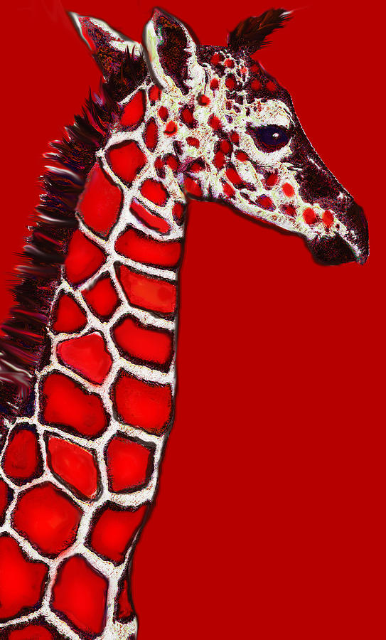 Giraffe Digital Art - Baby Giraffe In Red Black And White by Jane Schnetlage