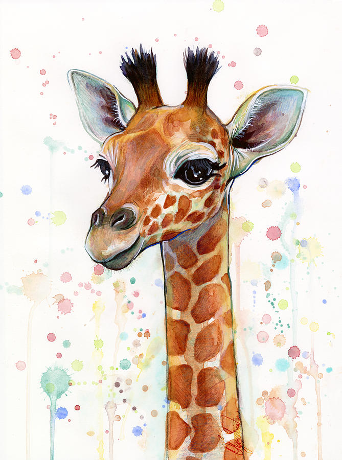Watercolor Painting - Baby Giraffe Watercolor  by Olga Shvartsur