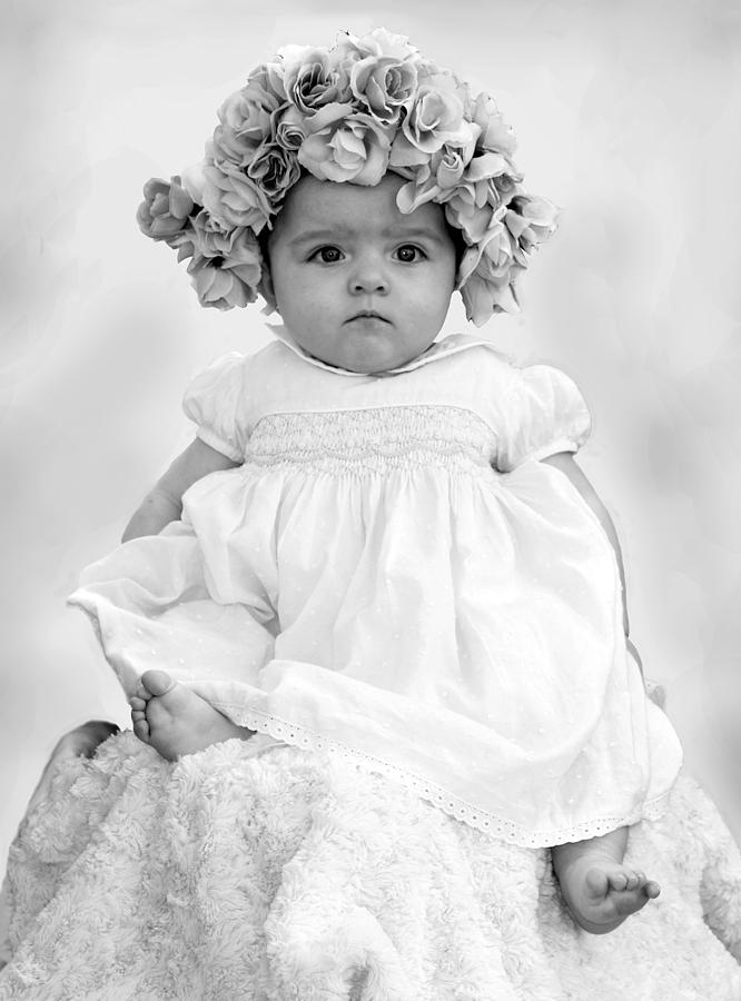 Baby Girl In Flower Bonnet Black And White Photograph By -6756