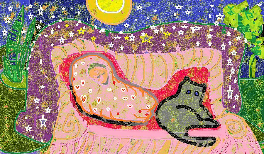 Plants Digital Art - Baby in Blanket and Cat by Beebe  Barksdale-Bruner