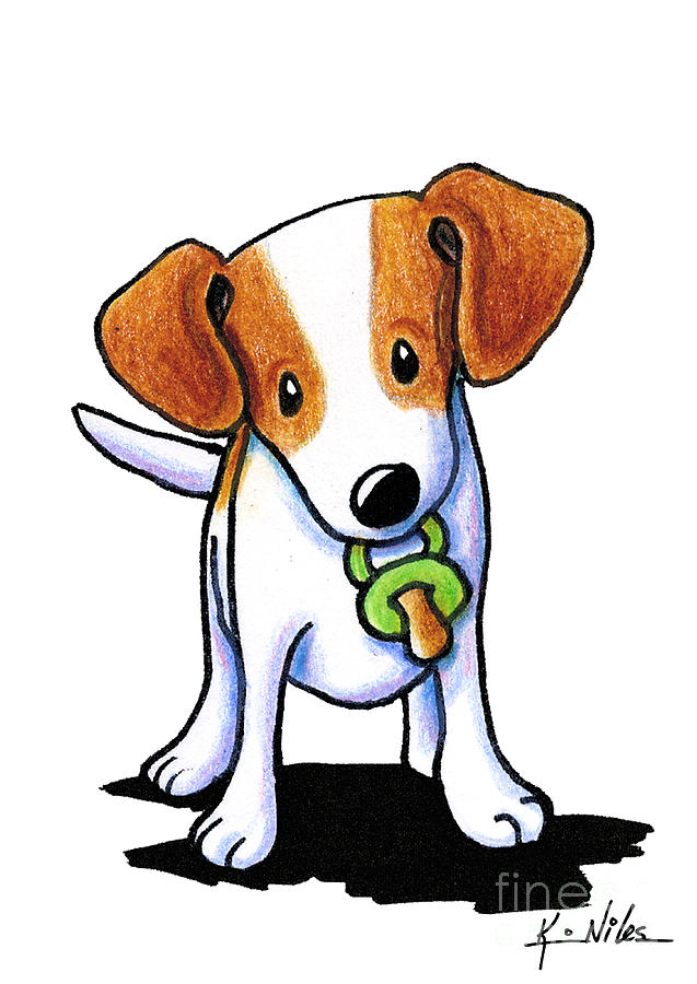 Jrt Drawing - Baby Jack Russell Terrier by Kim Niles