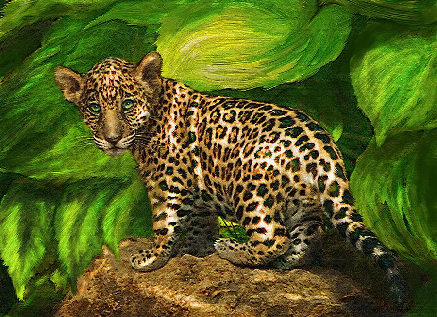 Jaguar Digital Art - Baby Jaguar by Jane Schnetlage