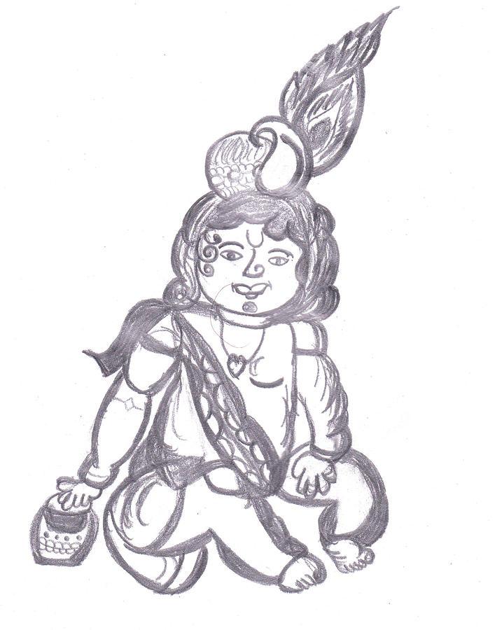 Baby Krishna Drawing By Melissa Vijay Bharwani