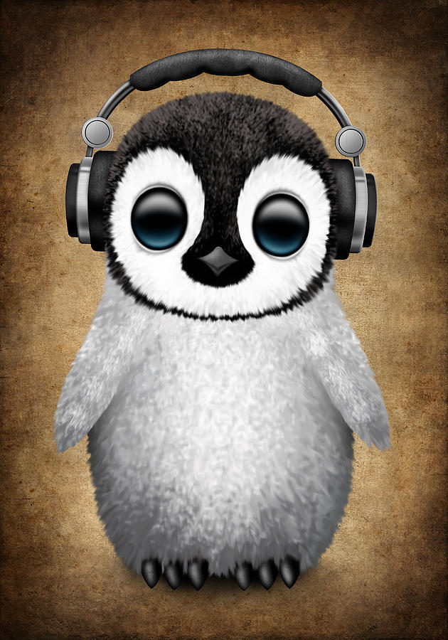 baby penguin dj with headphones digital art by jeff bartels