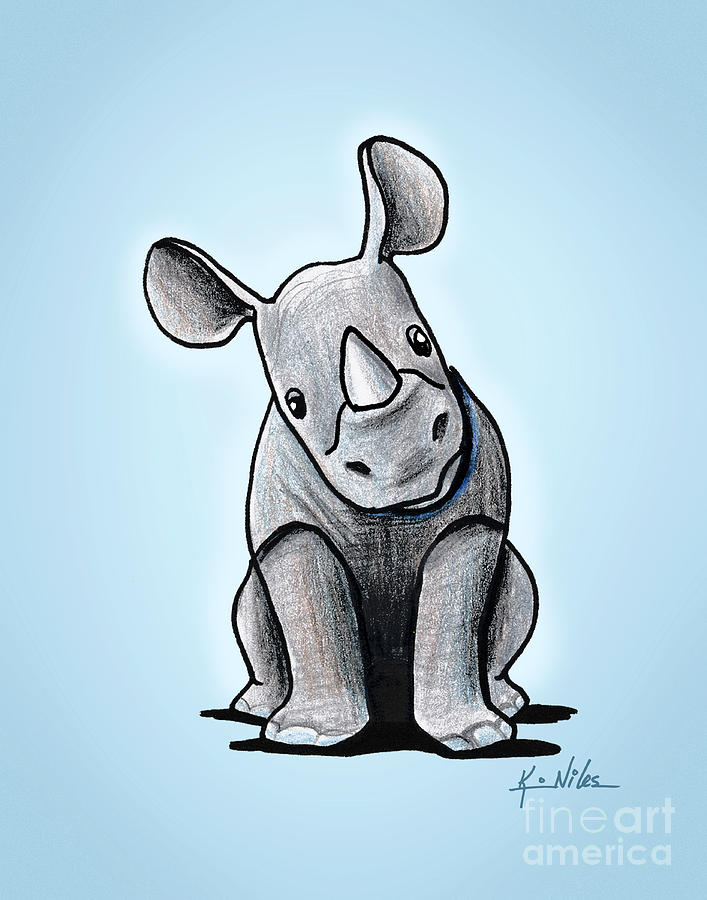 Baby Rhino Drawing by Kim Niles