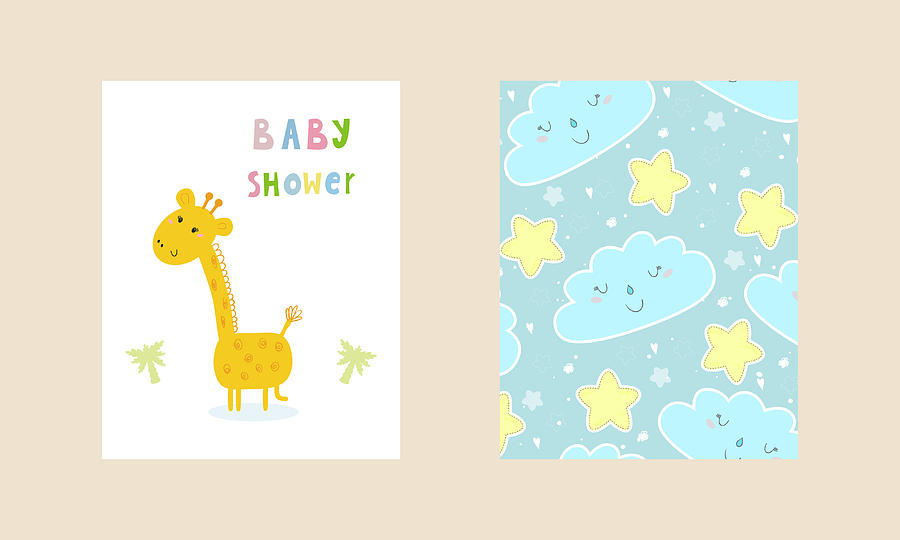 photo regarding Baby Shower Card Printable called Little one Shower Card Style. Lovely Hand Drawn Card With Giraffe. Printable Template.