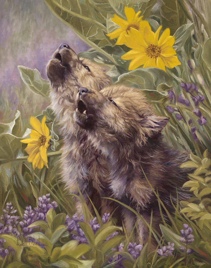 Wolf Painting - Baby Wolves Howling by Lucie Bilodeau