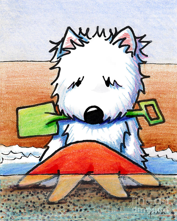Westie Drawing - Baby Youre A Star With White Border by Kim Niles
