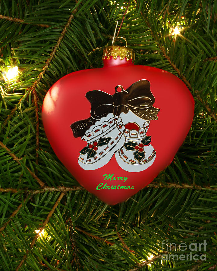 Christmas Photograph - Babys 1st Christmas Heart Ornament by Linda Rae Cuthbertson