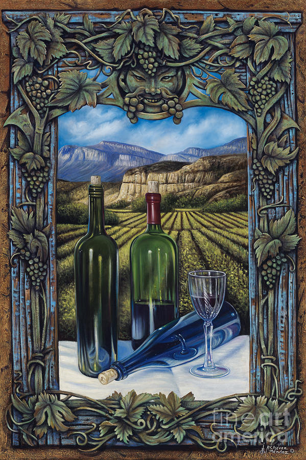 Wine Painting - Bacchus Vineyard by Ricardo Chavez-Mendez