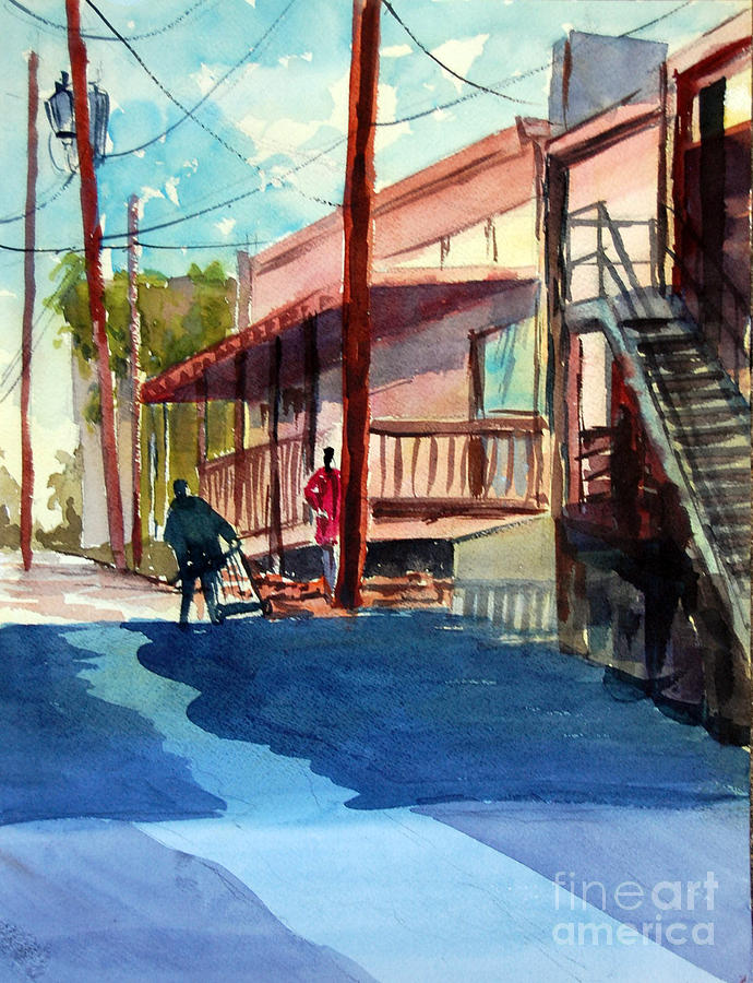 Street Scene Painting - Back Alley by Ron Stephens