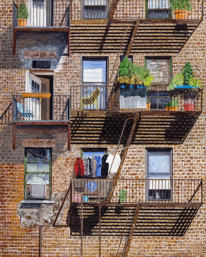 Back Alley View Greenwich Vlg Painting by Stuart B Yaeger