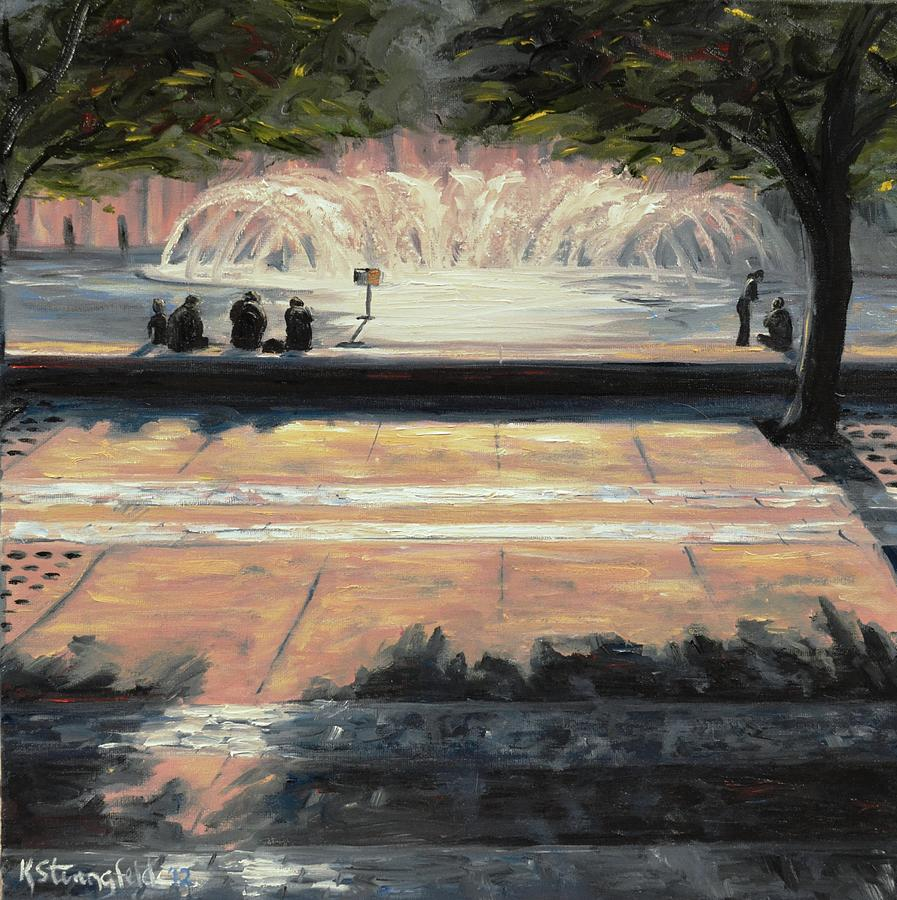 Boston Painting - Back Bay Fountain by Karen Strangfeld