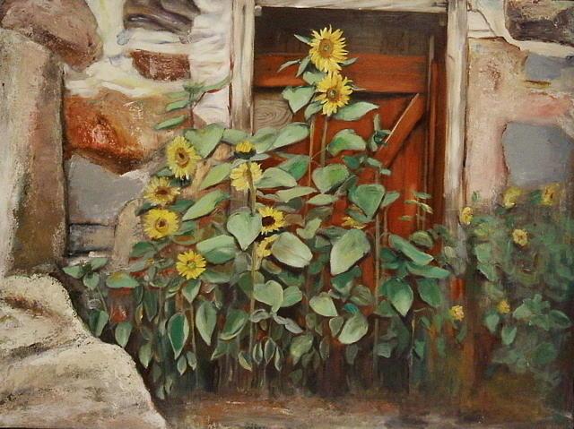 Sunflower Painting - Back Door by Sheila Diemert