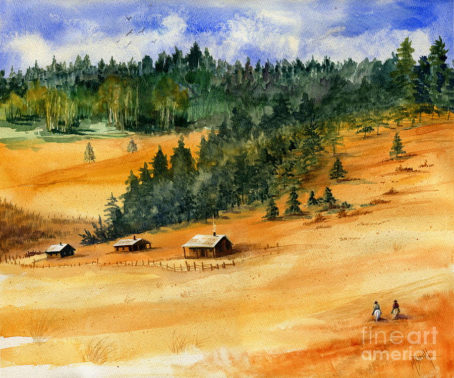 Western Landscape Painting - Back Home by Marilyn Smith