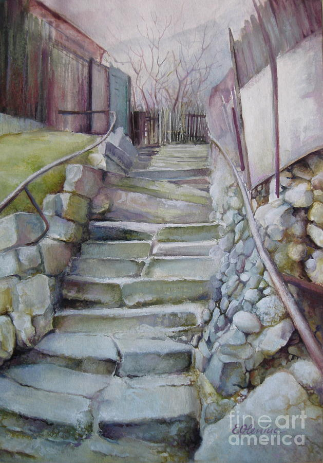 Stairs Painting - Back In Time by Elena Oleniuc