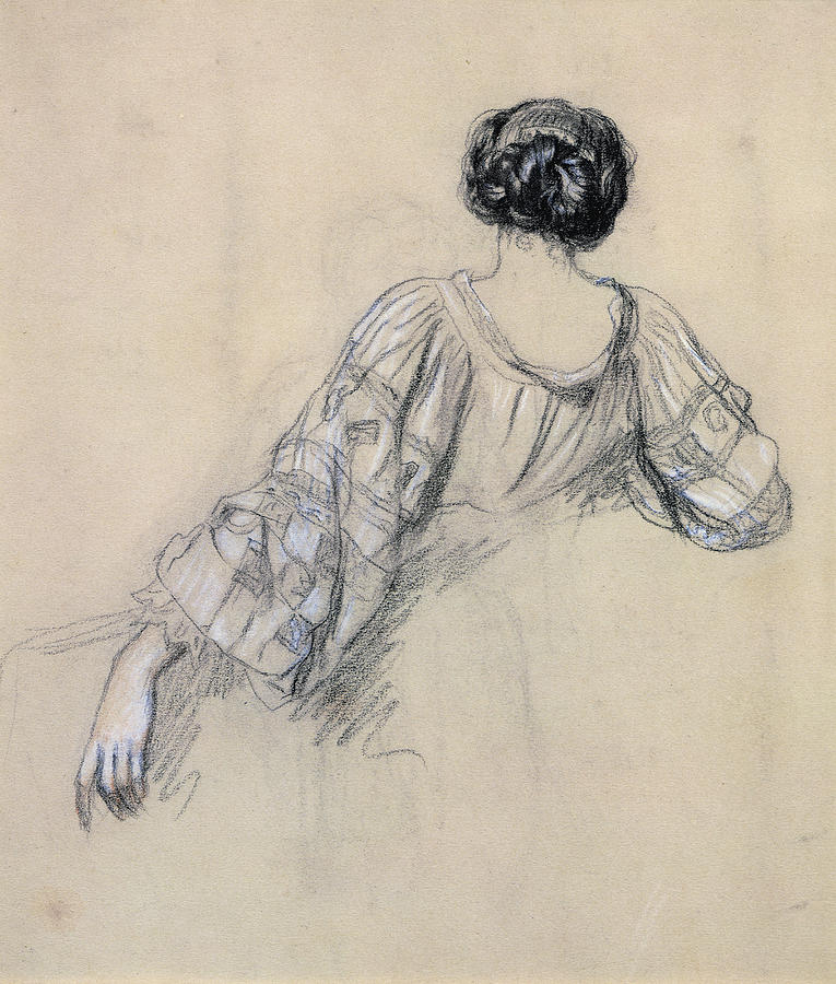 Rear View Drawing - Back Of A Young Woman by Antoine Auguste Ernest Herbert