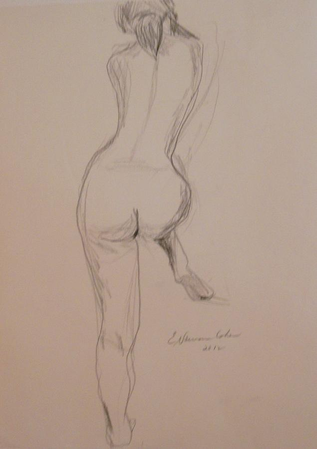 Nude Drawing - Back Of Nude With Foot Up by Esther Newman-Cohen