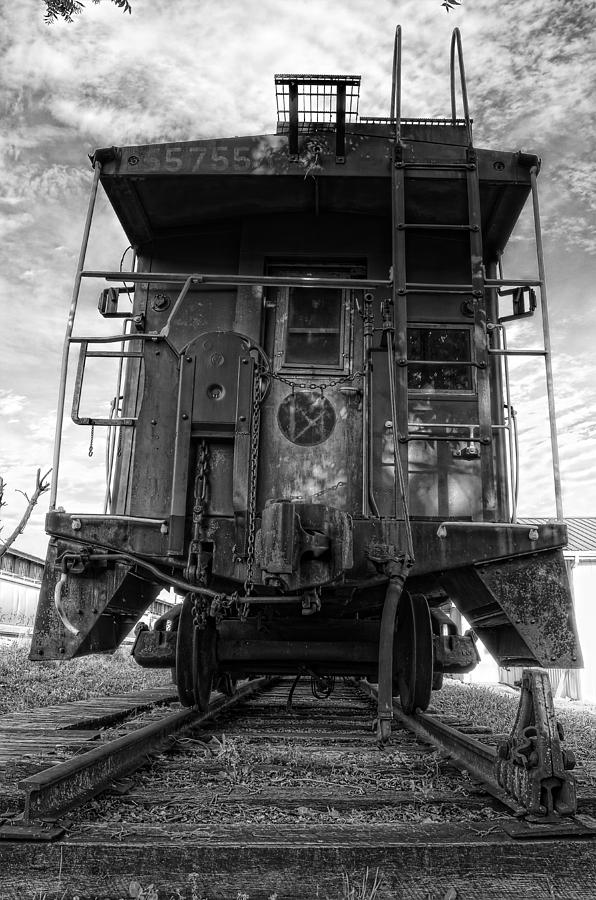 Caboose Photograph - Back Of The Line - Bw by Steve Hurt