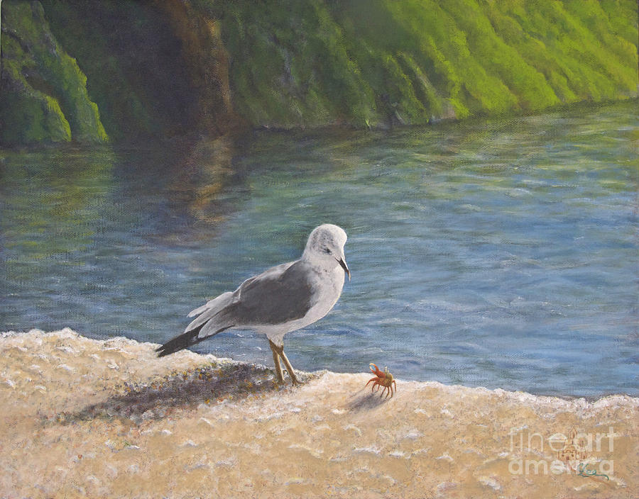 Sea Gull Painting - Back Off by Cindy Lee Longhini