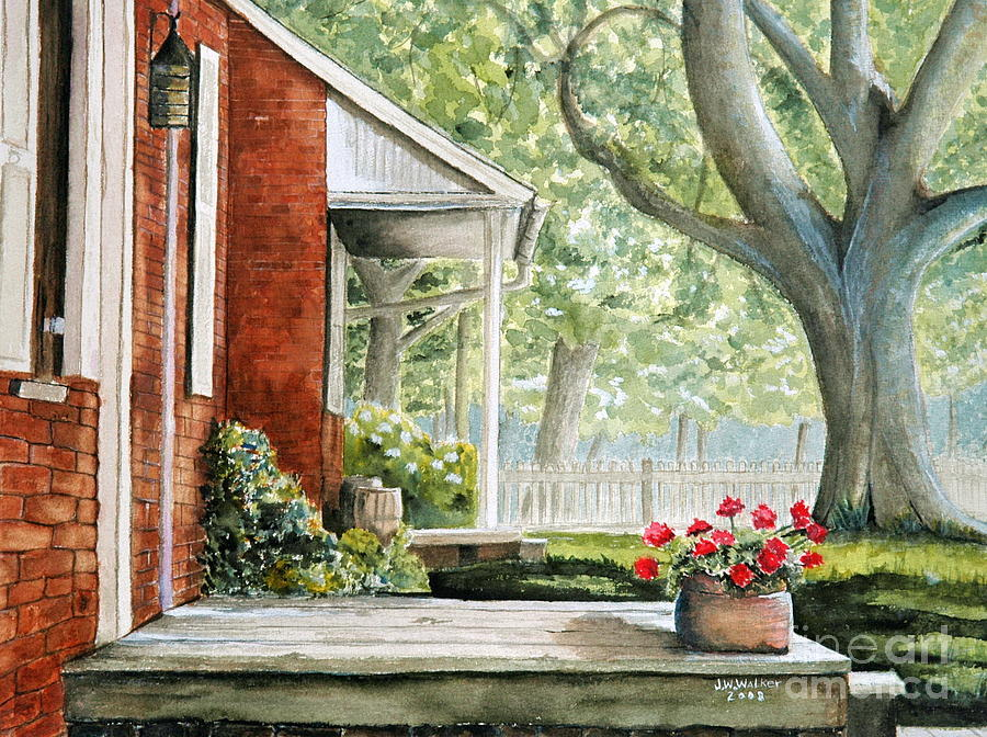 Landscape Painting - Back Porch Geraniums by John W Walker
