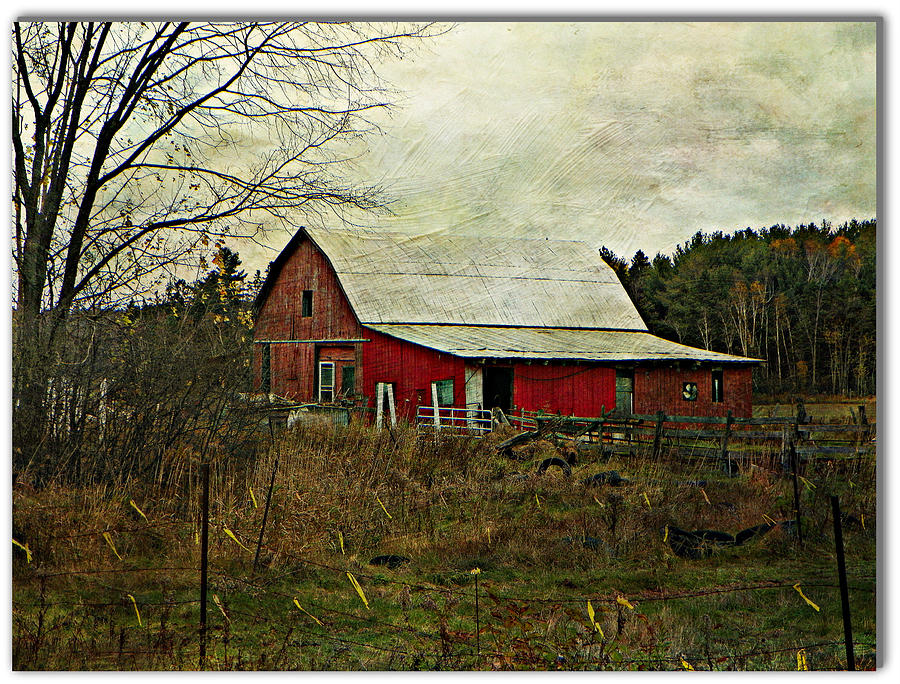 Red Barn Pasture Field Farm Fence Country Back-roads Rural  Photograph - Back Road Barns  by Dianne  Lacourciere