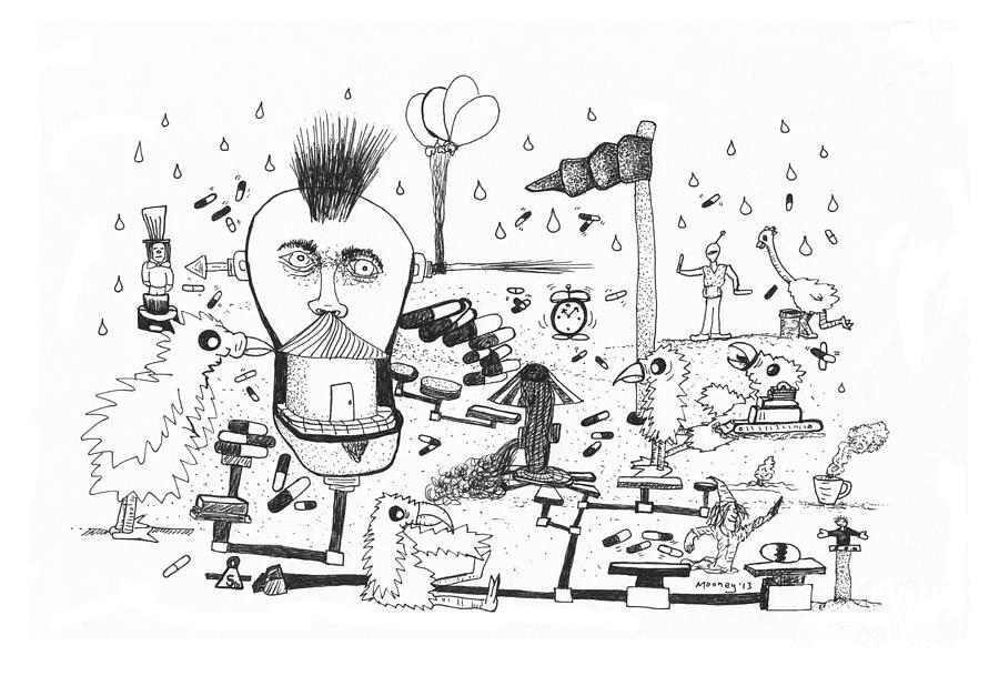 Birds Drawing - Back Rooms Of My Mind Door #13113 by Michael Mooney