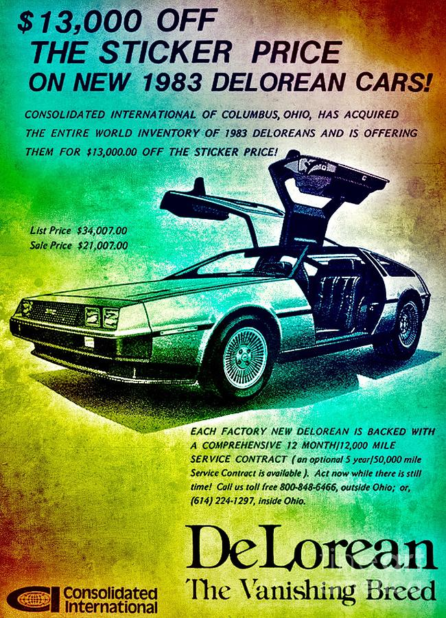 Back to the DeLorean Digital Art by HELGE Art Gallery