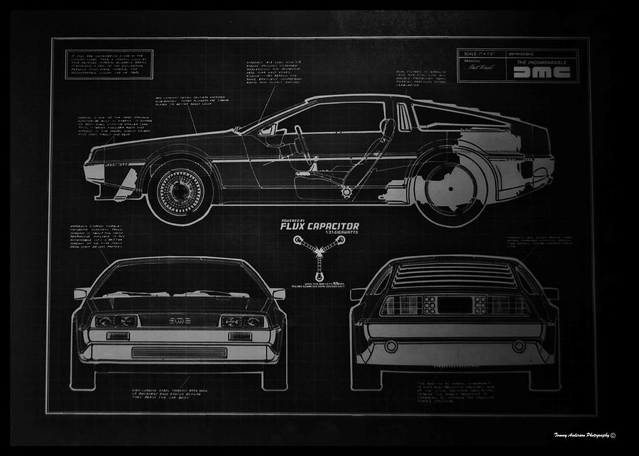 Back to the future delorean blueprint 1 photograph by tommy anderson delorean photograph back to the future delorean blueprint 1 by tommy anderson malvernweather Gallery