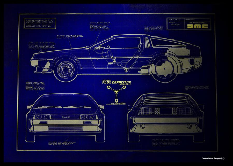 Delorean Photograph - Back To The Future Delorean Blueprint 2 by Tommy Anderson