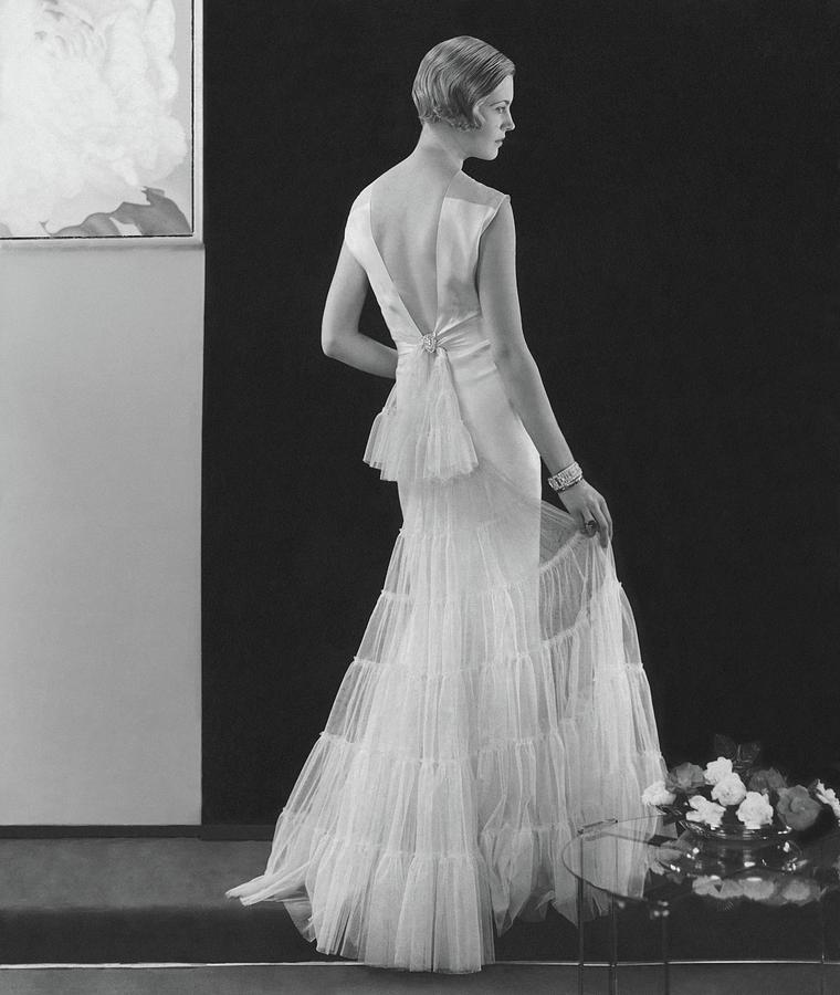 Back View Of A Model Wearing An Evening Gown Photograph by Edward Steichen
