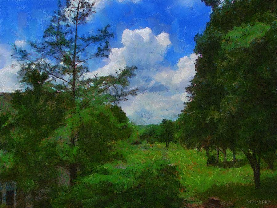 Back Yard Painting - Back Yard View by Jeffrey Kolker