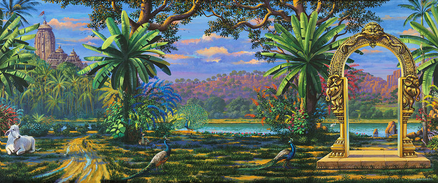 Landscape Painting - Backdrop For Three Altars by Vrindavan Das