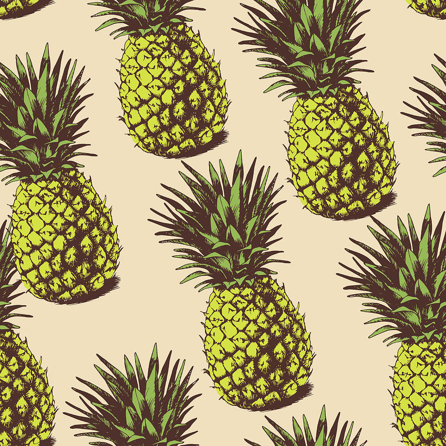 Background With  Pineapples Digital Art by Ola-ola