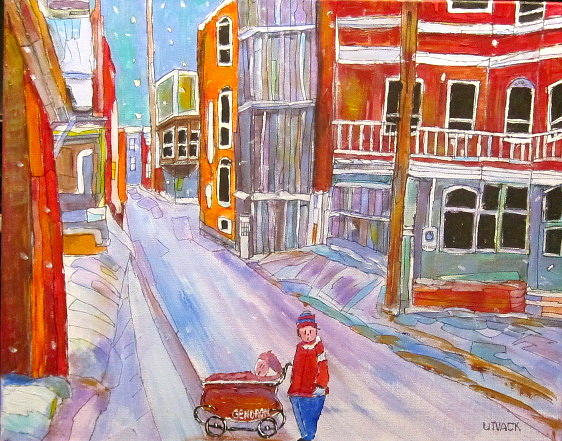 Backlane Painting - Backlane Snow by Michael Litvack