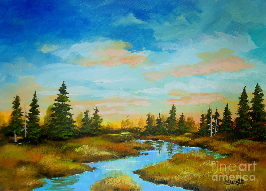 Landscape Painting - Backpack  Meadow  by Shasta Eone