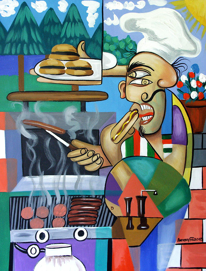 Hot Dogs Painting - Backyard Chef by Anthony Falbo