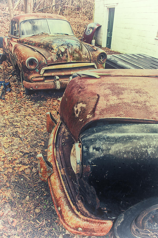 Vintage Cars Photograph - Backyard Classics by Karol Livote