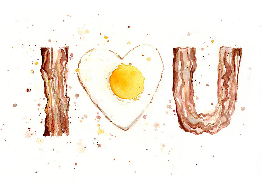 Bacon Painting - Bacon and Egg I Love You by Olga Shvartsur