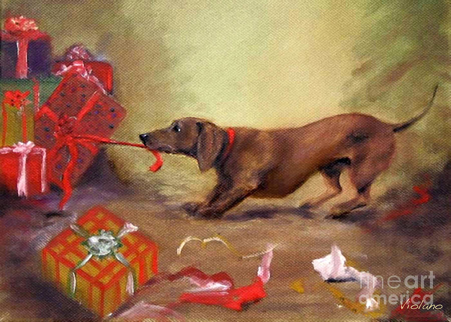 Doxie Painting - Bad Dog Christmas by Stella Violano